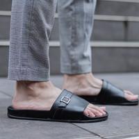 Sandal Slop Pria Cogen Rubber - Leather Djani Series Cowok Copenhagen