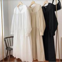 Midi Dress Jumbo Wanita Simple Polos