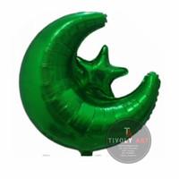 Balon Foil Bulan Bintang GREEN / Balon Foil Star Moon / Balon Bulan