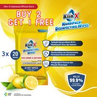 Klin-X Travelpack 20s Tisu Tissue Basah Disinfektan (BUY 2 GET 1 FREE)