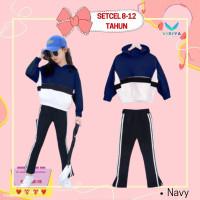 Setelan Anak Perempuan 8 9 10 11 12 Tahun Baju Hoodie Celana Navy - Navy