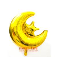 Balon Bulan Bintang GOLD / Balon foil Star Moon / Dekorasi Lebaran