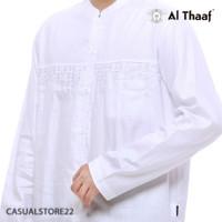 Baju Koko Al Thaaf Koko Katun Tangan Panjang Putih - 0179 - Koko Bordi - S