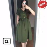 D03 Tunik Casual Dress Atasan Baju Kancing Busui Bumil Terbaru 2021