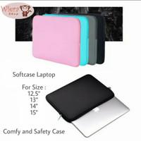 Laptop Soft Case Import 14 Inch Pouch Tempat Macbook ipad - Merah Muda