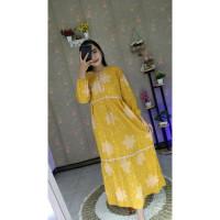 Gamis Batik Renda Motif Daun Bahan Rayon Busui - Kuning