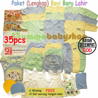 Paket SNI 35pcs Lengkap Baju Bayi Polos Laki Perempuan Kado Newborn
