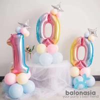 Balonasia Set angka rainbow bintang