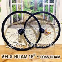 Wheelset Velg Hitam Uk.18 Alloy Depan Belakang Rims Roda Sepeda PerPcs
