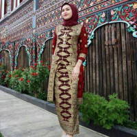 Batik songket set U motif palembang merah