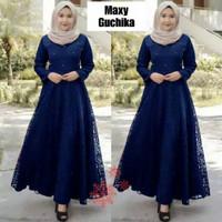 Gamis Guchika Size L, XL, XXL Maxi Dress Brokat Baju Lebaran Terbaru