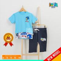 Kaos Anak Cowok 10 Tahun / Celana Pendek Anak Cowo / Stelan Baju Anak - Sonic, 2