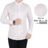 Baju Kemeja Koko Putih Lengan Panjang Slimfit Pria k8657 bisa gosend - XL