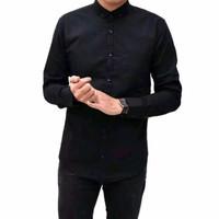 Kemeja Polos Hitam Cowok Panjang Kerja Kantor Slimfit / Baju Pria