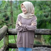 Pocky Sweater / Sweater Rajut Wanita / Baju Rajut Wanita / Poket Rajut