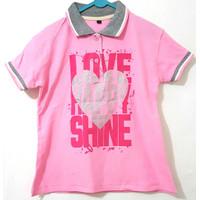 Kaos atasan polo anak perempuan usia 7-10 tahun - 6-7 tahun, Merah Muda