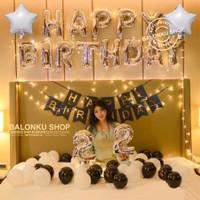 Paket Set balon Dekorasi Ulang Tahun Birthday Silver Black