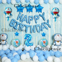 SET PREMIUM balon foil doraemon ulang tahun birthday party dekorasi - Umur 1
