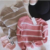 Nanas Stripe Sweater / Baju Rajut Wanita /Sweater Rajut Popcorn Stripe
