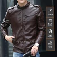 Jaket Semi Kulit Pria model terbaru 2021/jaket korea pria casual murah - Hitam, M