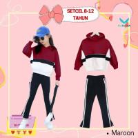 Setelan Anak Perempuan 8 9 10 11 12 Tahun Baju Hoodie Celana Maroon - Maroon