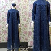 KEBAYA STELAN TILLE BORDIR REMPEL MAXY DRESS BUSUI MUSLIM - NAVY, M