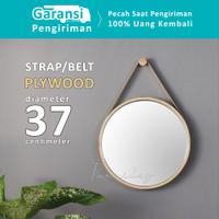 Cermin Bulat Diameter 37 cm | Model Gantung | Bingkai Motif Kayu