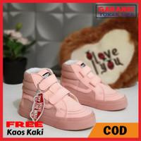 Sepatu Anak Perempuan Model Vans High SK8 Perekat Pink Premium Quality