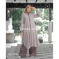 Tunik Set Celana Kulot ANDARA Atasan Kemeja Wanita Hijab Jumbo Busui