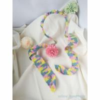 FIORI bando bunga pastel / aksesoris rambut wanita handmade rajut
