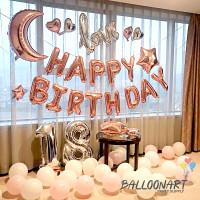 HAPPY BIRTHDAY BULAN & LOVE SAMBUNG DEKORASI SET/BALON FOIL ROSE GOLD