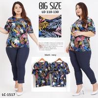 Kaos Oblong Wanita Baju Murah Atasan Motif Melar Jumbo LC 1517Big Size