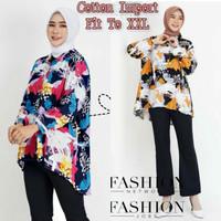 Baju Atasan Wanita Jumbo Tunik Muslim Blouse Muslimah Kemeja Katun XXL - ALICE Kubus