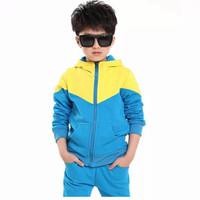 Setelan Baju Jaket Hoodie Anak Laki-laki Perempuan 8 9 10 11 12 tahun - Biru