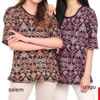 LALIKA L XXL Baju Kaos Wanita Lengan Pendek T-Shirt Batik Spandex Cewe