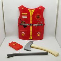 Mainan Anak Kostum Baju Profesi Firefighter Pemadam Kebakaran Tameng