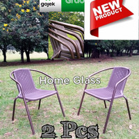 Kursi Teras Taman dan Outdoor Besi Hot Sale 2 Kursi - Cokelat