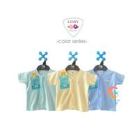 LIBBY 3-Piece Baju Bayi Lengan Pendek Polos Warna 0-3 Bulan