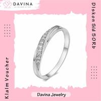 Cincin Wanita DAVINA Jade Ring Lapis Emas Putih18K White Gold Kristal