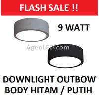 Lampu downlight LED Panel Outbow 9W PUTIH HITAM BULAT 9 W Watt OB 3 6