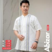 Baju Koko Putih Katun Poplin Elegan Bordir Kancing Keren