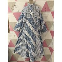 Gamis/Longdress Lengan Panjang Batik Katun Printing Size Jumbo Random