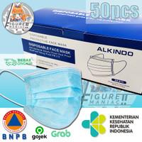 Masker Alkindo Earloop / Kuping Hitam 3 ply Kemenkes BNPB 1 box isi 50