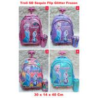 Troli SD Sequin Flip Glitter Frozen Koper Anak Trolley Backpack school