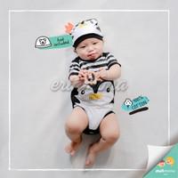 baju jumper bayi karakter penguin hitam lucu