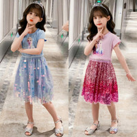 Baju Dress Anak Frozen Elsa Sparkles Sequin Cantik Kekinian