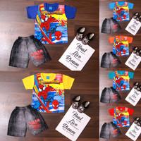 BAJU SETELAN ANAK LAKI LAKI USIA 1-5 TAHUN GAMBAR SPIDERMAN LIONEL