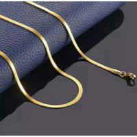 Kalung Titanium Pipih Emas Pria - Wanita Panjang 45 cm