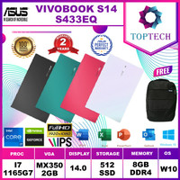 ASUS VIVOBOOK S14 S433EQ - i7 1165G7 8GB 512ssd MX350 2GB W10+OFFICE