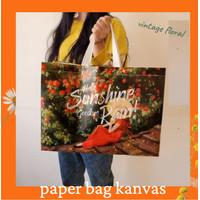 Paper Bag kanvas kain go green Kantong Besar Paperbag Import Floral